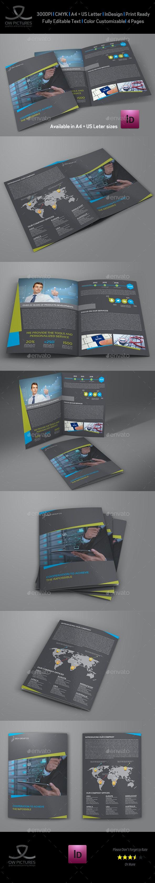 Company Brochure Bi-Fold Template Vol.45 - Brochures Print Templates