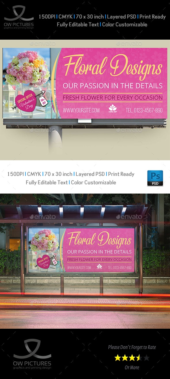 Floral Designs Billboard Template - Signage Print Templates