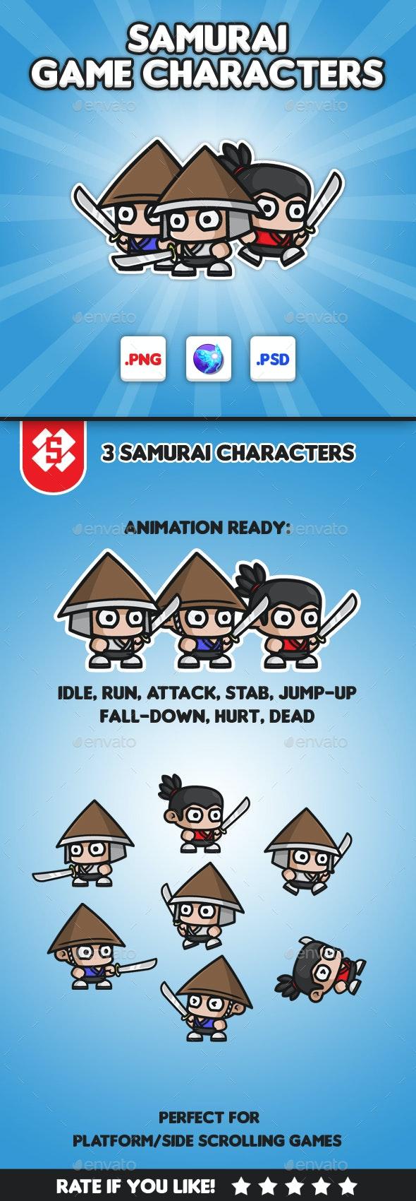 Samurai Chibi -  Game Characters - Sprites Game Assets
