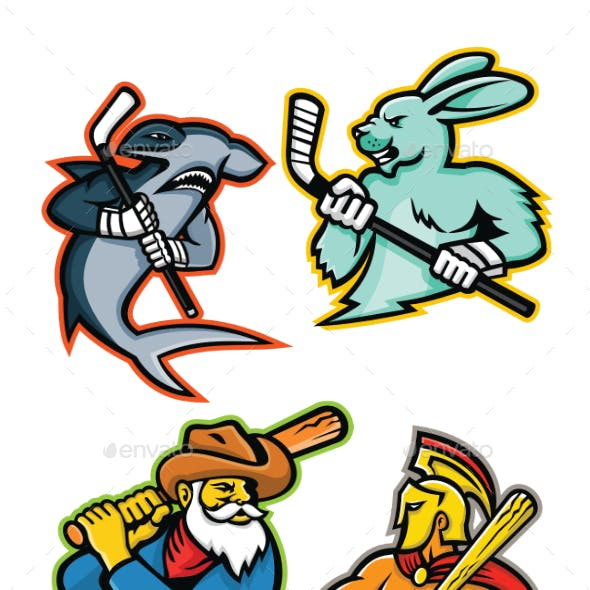 Baseball and Ice Hockey Team Mascots Collection