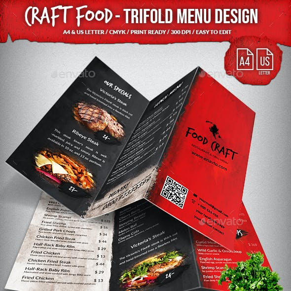 Craft Food Trifold A4 & US Letter Menu Design