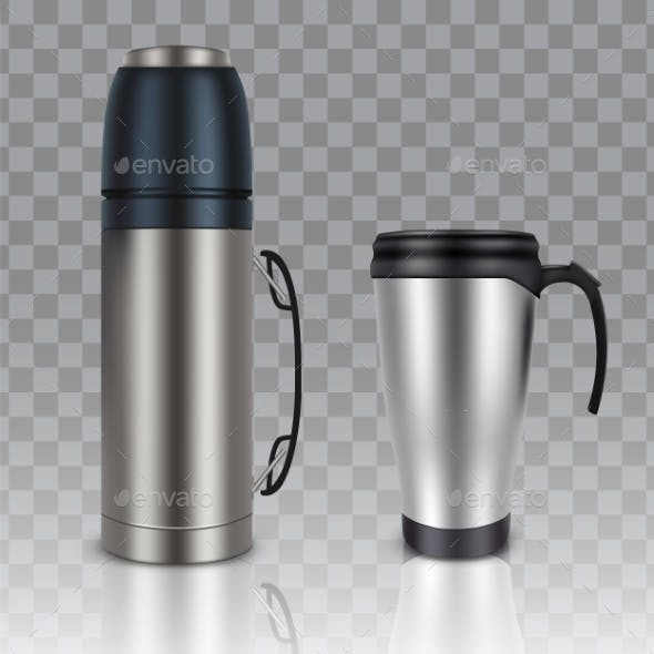 Thermos Thermo Cup Vector Realistic Mockup Set