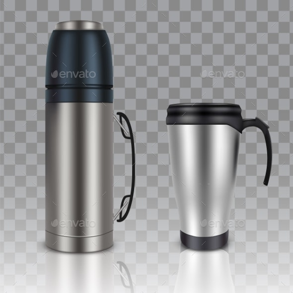 Thermos Thermo Cup Vector Realistic Mockup Set - Man-made Objects Objects