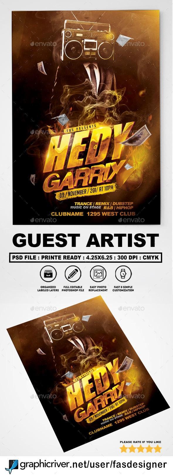 Guest Artist Flyer Template - Clubs & Parties Events