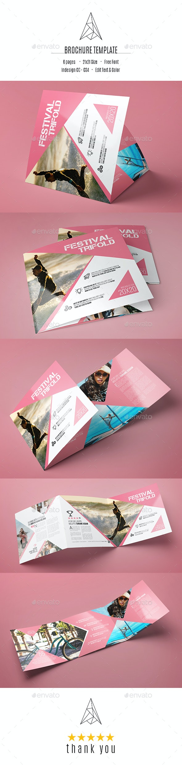 Square Tri-Fold Brochure Template - Brochures Print Templates