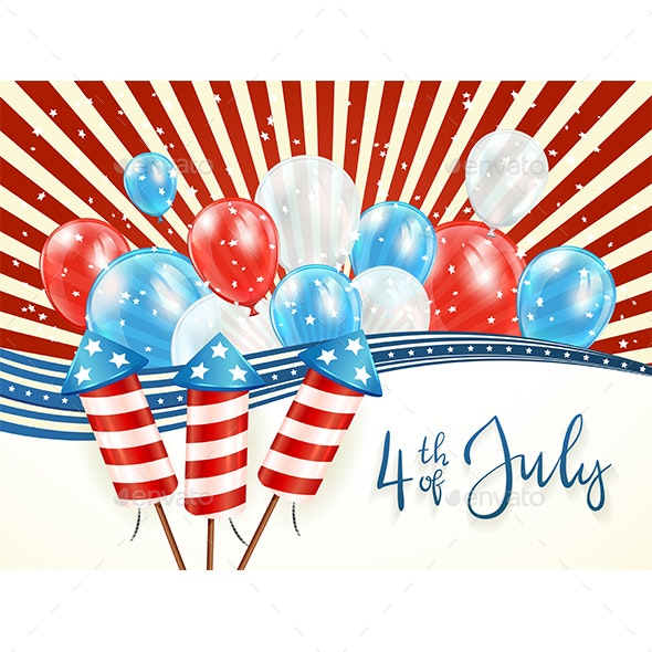 Independence Day Abstract Background with Balloons - Miscellaneous Seasons/Holidays