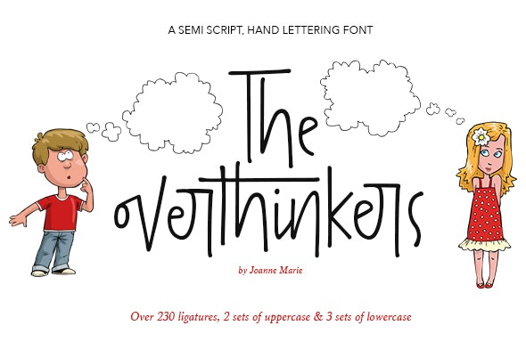 The overthinkers hand lettering font - Script Fonts