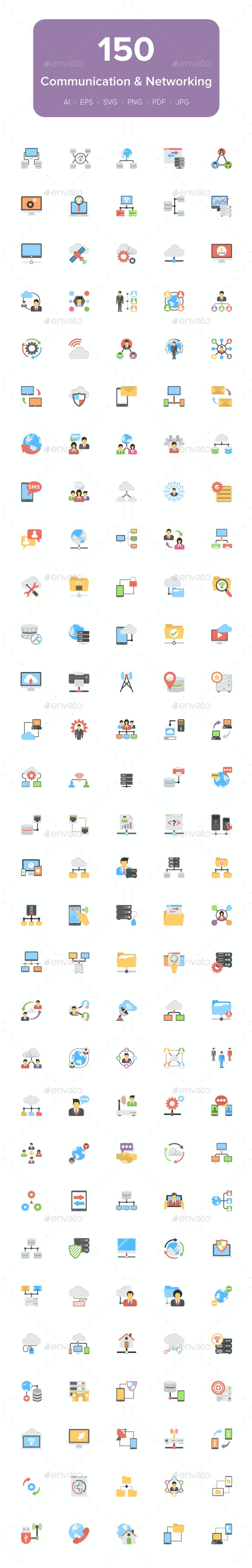 150 Communication and Networking Flat Icons - Icons
