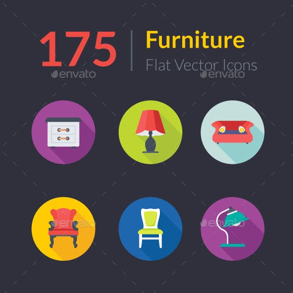 175 Flat Rounded Furniture Icons