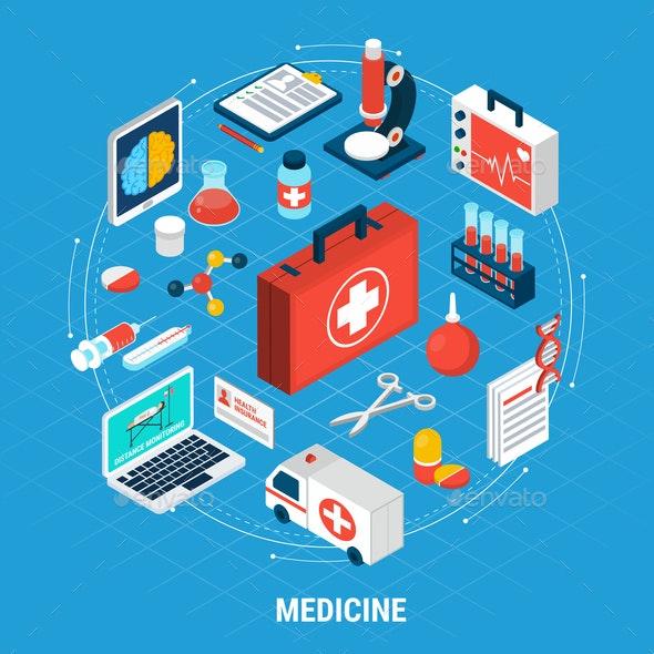 Medicine Isometric Concept - Health/Medicine Conceptual