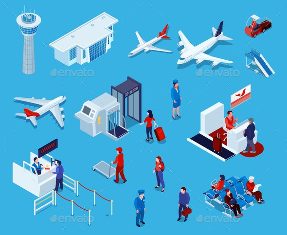 Airport Isometric Icons Set - Travel Conceptual