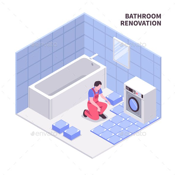 Bath Room Repair Isometric Composition