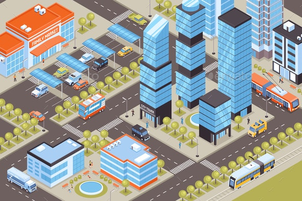 Transport Isometric Illustration - Buildings Objects