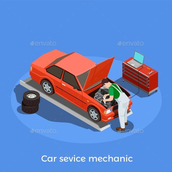 Motor Mechanic Isometric Background - People Characters