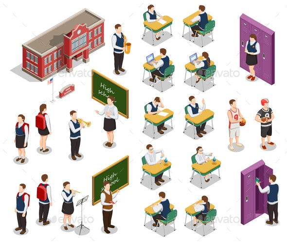 Isometric School People Set - Miscellaneous Vectors