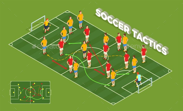 Soccer Tactics Isometric Background - Sports/Activity Conceptual