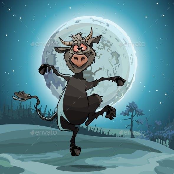 Cartoon Devil Jumps in the Moonlit Night