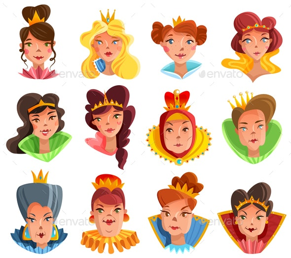 Princess and Queen Heads Set - People Characters