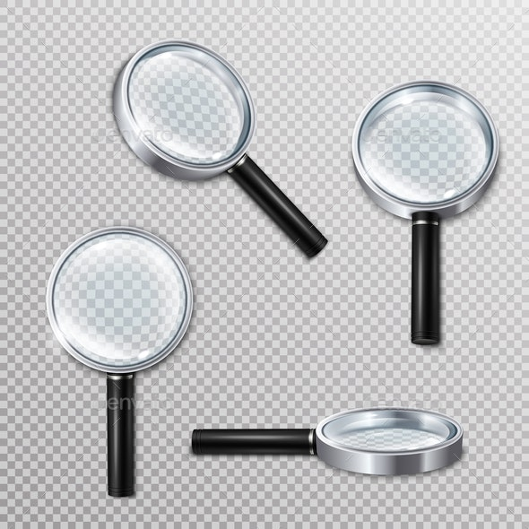 Realistic Magnifying Glasses Set - Man-made Objects Objects