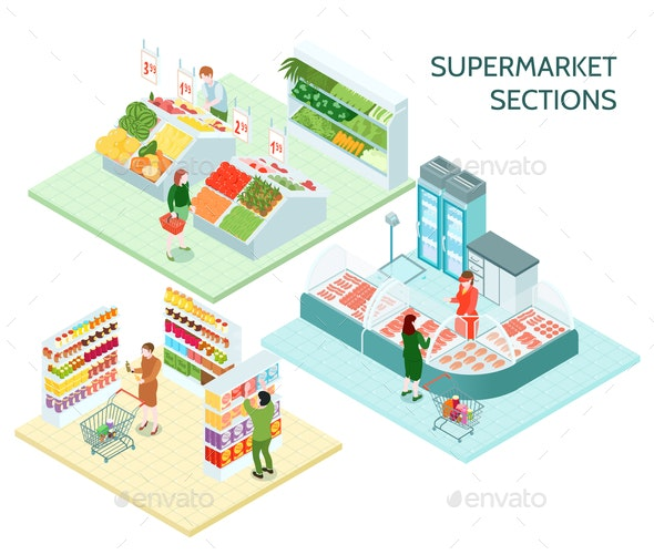 Supermarket Sections Isometric Compositions - Food Objects