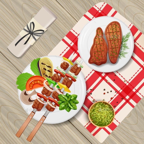 BBQ Realistic Illustration - Food Objects