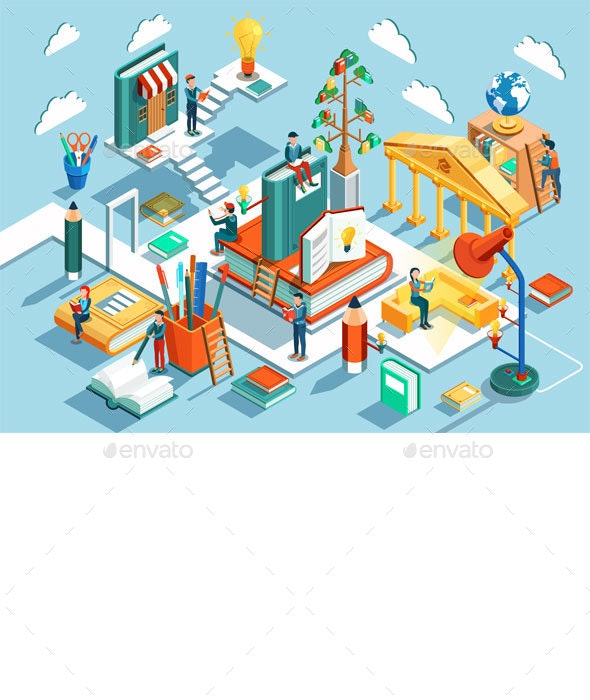 Online Education Isometric Flat Design - Web Technology