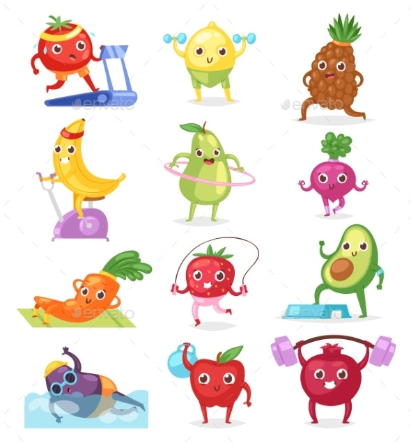 Fruits Sportsman Vectors - Food Objects