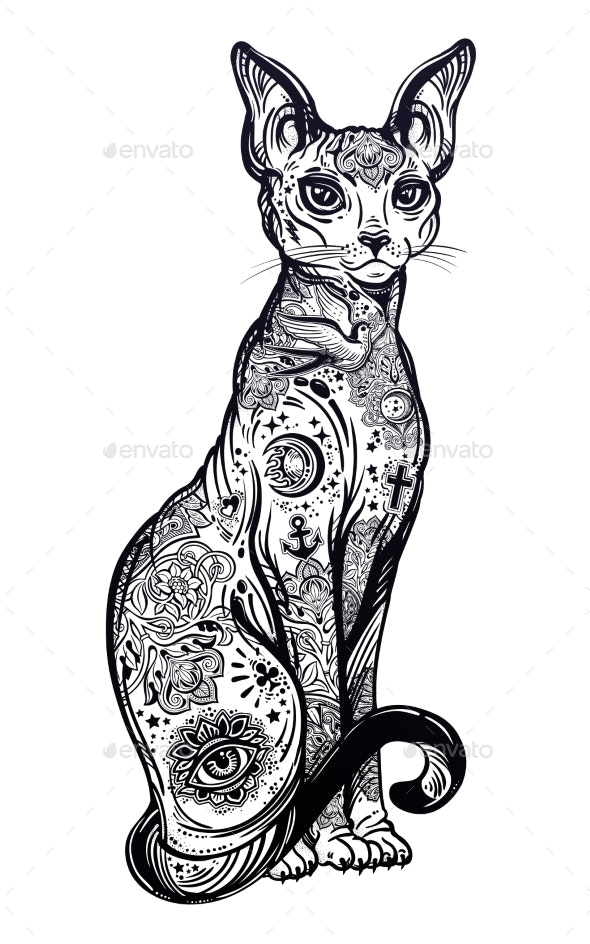 Vintage Style Cat with Body Flash Art Tattoos - Animals Characters