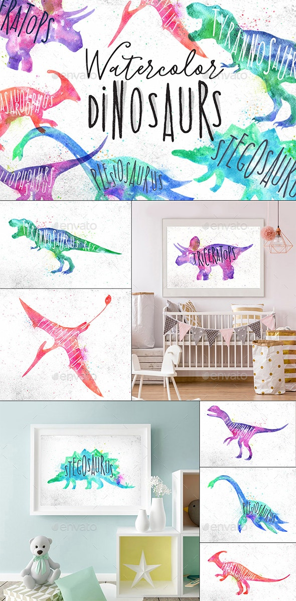 Watercolor Dinosaurs - Animals Characters
