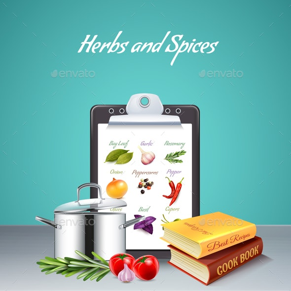 Herbs and Spices Realistic Background - Food Objects