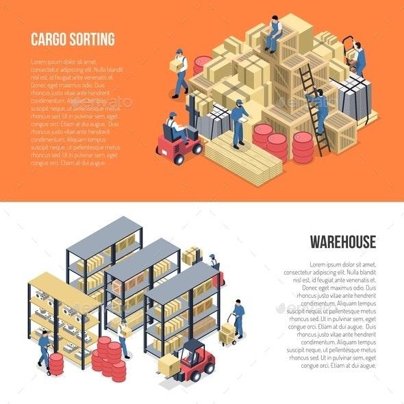 Warehouse Isometric Banners - Miscellaneous Vectors