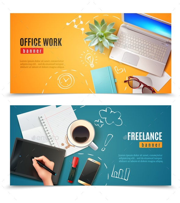 3D Office Objects Banners - Backgrounds Business