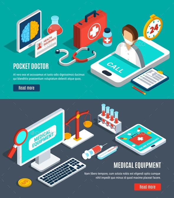 Medical Isometric Banners Set - Health/Medicine Conceptual