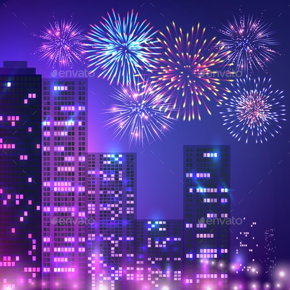 Big City Fireworks Composition - Buildings Objects
