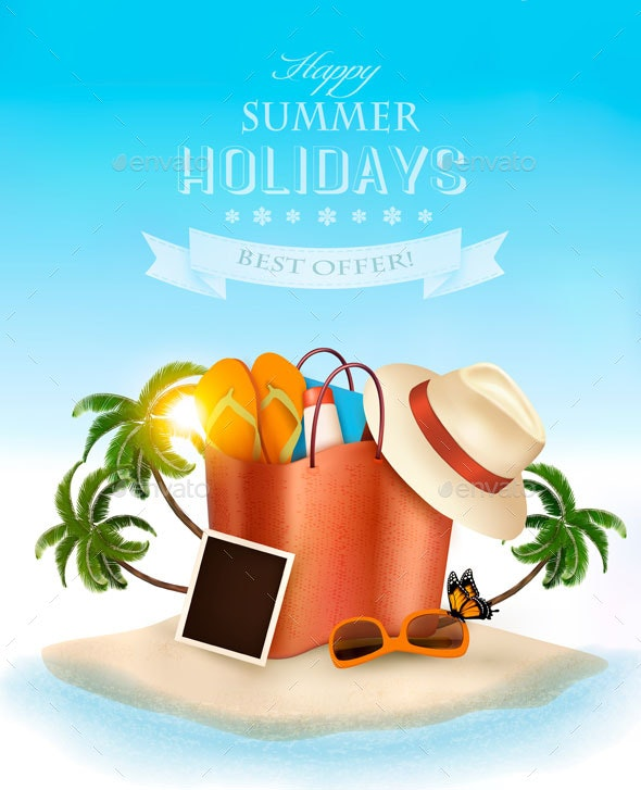 Vacation Vector Background. - Travel Conceptual