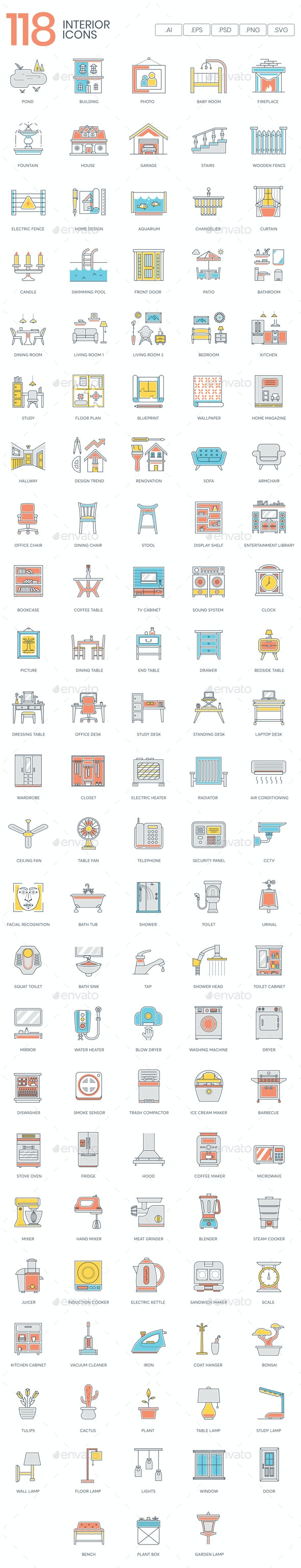Interior Design Icons - Man-made objects Objects