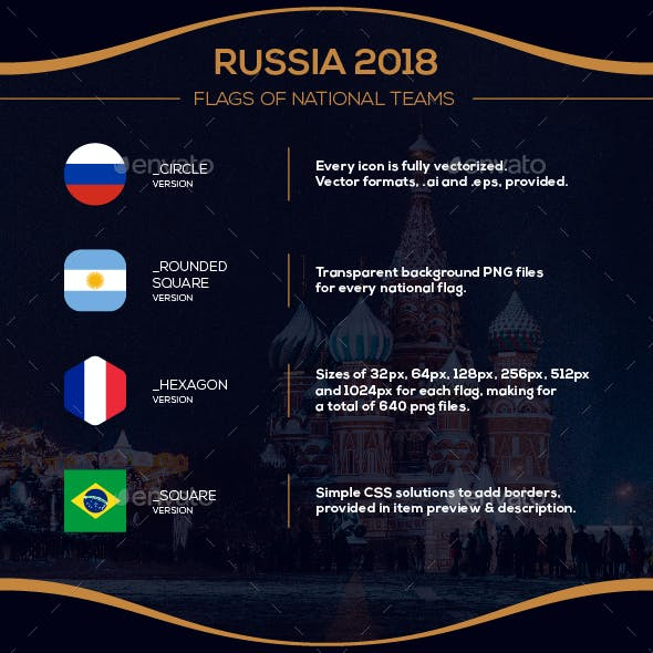 World of Football Russia Cup 2018 - Flag Icons