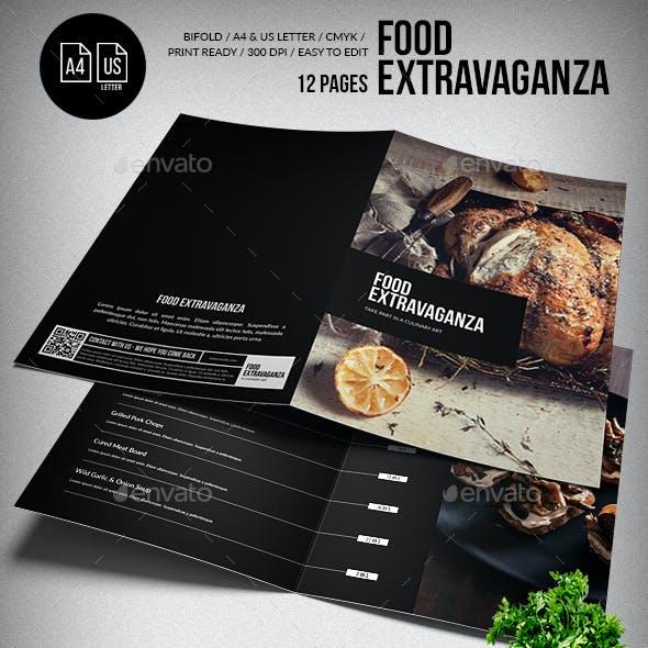 Multipurpose Extravaganza  Food Menu - 12 pgs - A4 & US Letter