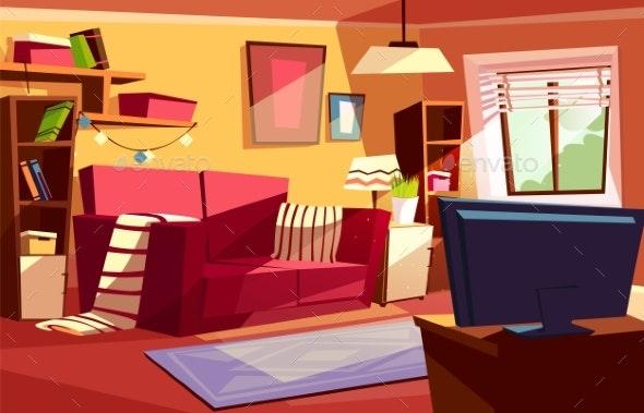 Living Room Interior Vector Cartoon Illustration - Man-made Objects Objects
