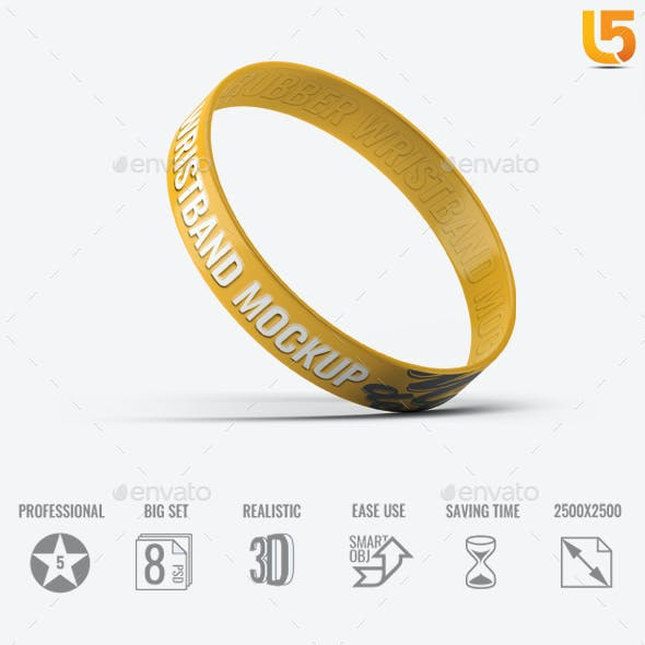 Silicone Rubber Wristband Bracelet Mock-Up