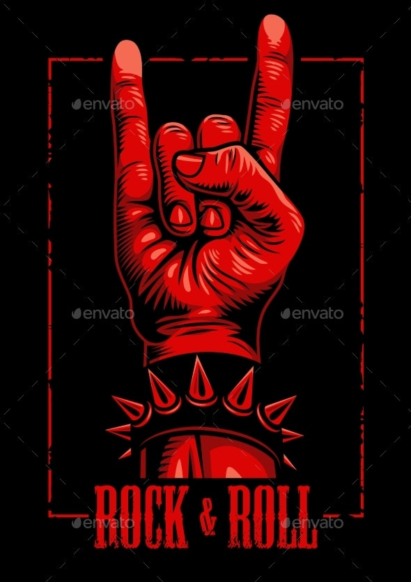 Hand in Rock n Roll Sign - Miscellaneous Vectors