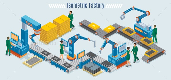 Isometric Industrial Factory Template - Industries Business