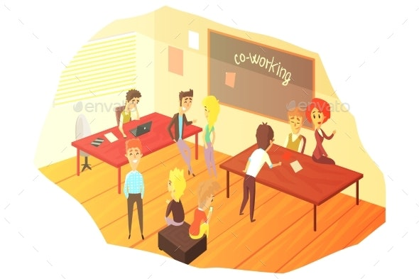 Co-working Office Space With Blackboard - Miscellaneous Vectors