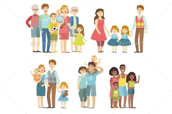 Happy Families Posing Together - People Characters