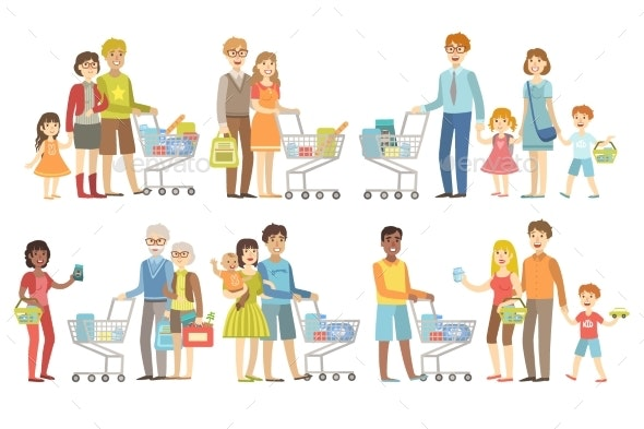 Families Grocery Shopping Together - People Characters