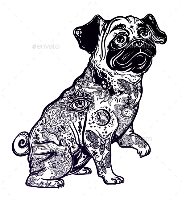 Vintage Bulldog or Pug Decorated in Flash Tattoos. - Animals Characters