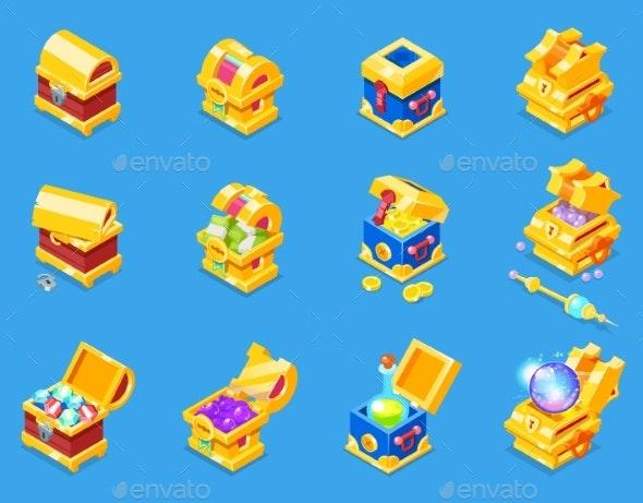 Chest Icon Isometric Vector Treasure Box with Gold - Miscellaneous Vectors
