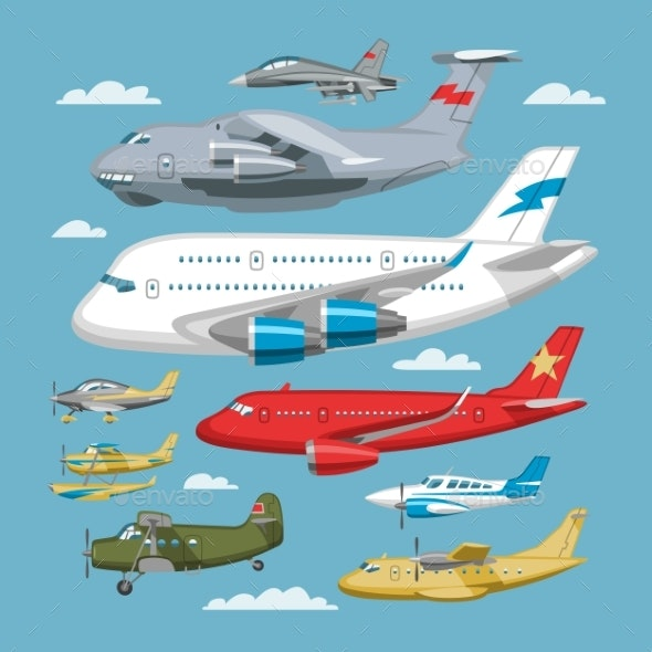 Plane Vector Aircraft or Airplane and Jet Flight - Man-made Objects Objects