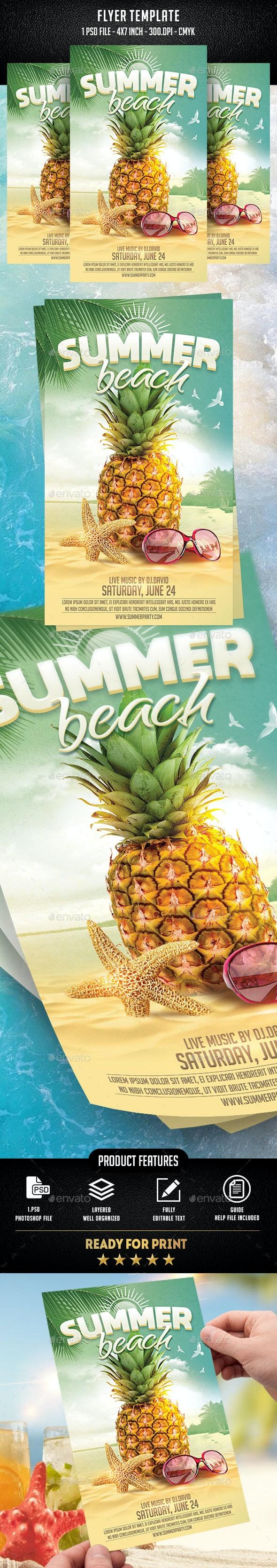Summer Beach Flyer Template - Flyers Print Templates
