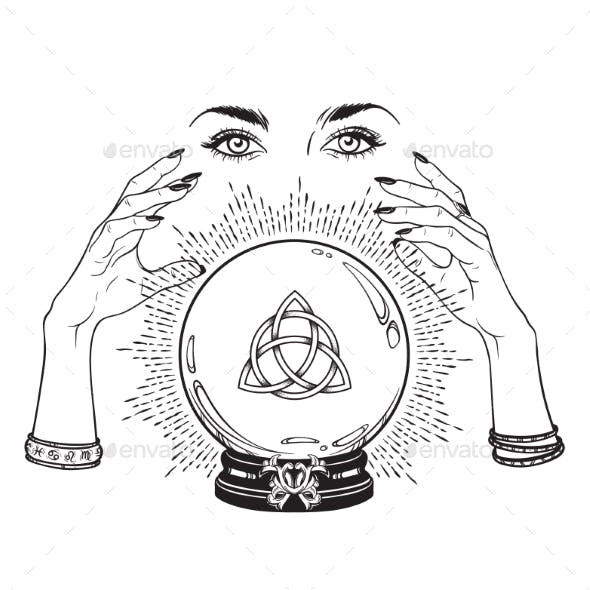 Crystal Ball with Triquetra in Hands of Gypsy